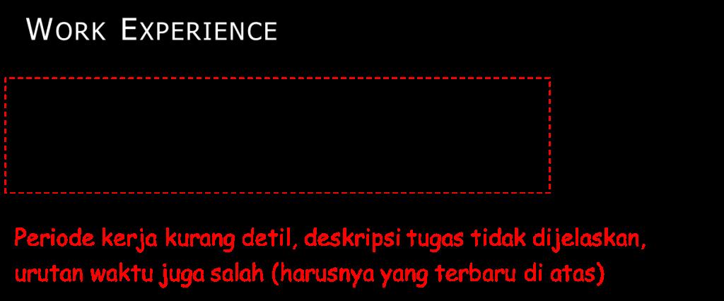 Pengalaman Kerja Salah