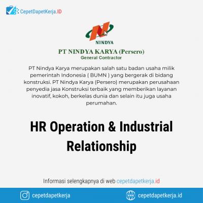 Loker HR Operation & Industrial Relationship – PT. Nindya Karya