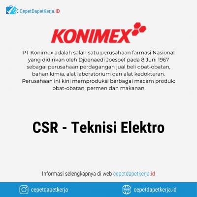 Loker CSR Teknisi Elektro – PT. Konimex