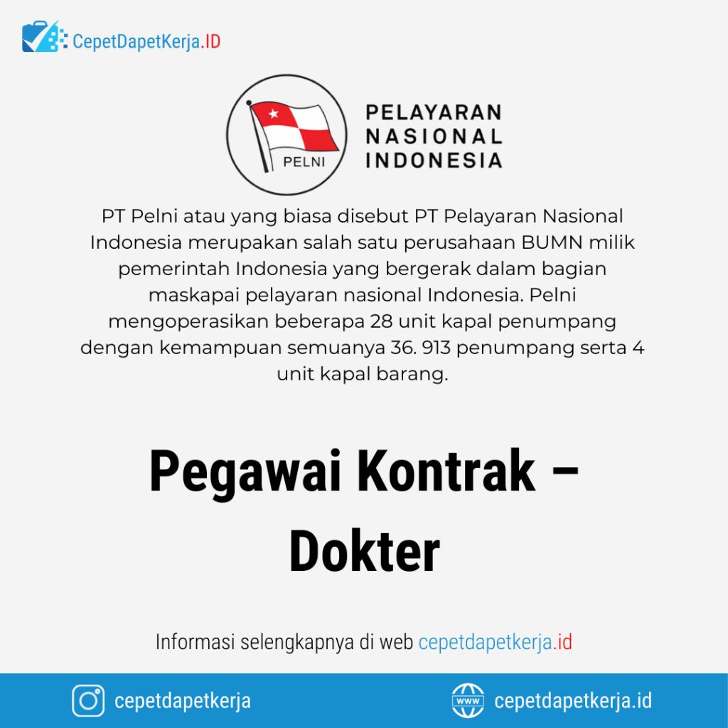 Lowongan Kerja Pegawai Kontrak - Dokter - PT. Pelayaran Nasional Indonesia