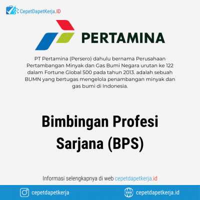 Loker Bimbingan Profesi Sarjana (BPS) Subholding Refining & Petrochemical, Subholding Shipping, Dll – PT. Pertamina