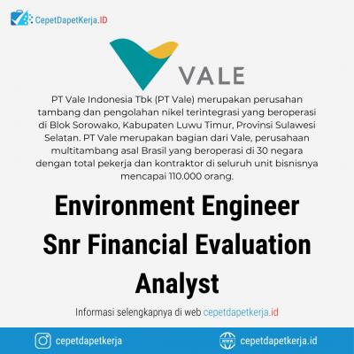 Loker Environmental Engineer, Senior Financial Evaluation Analyst – PT. Vale Indonesia