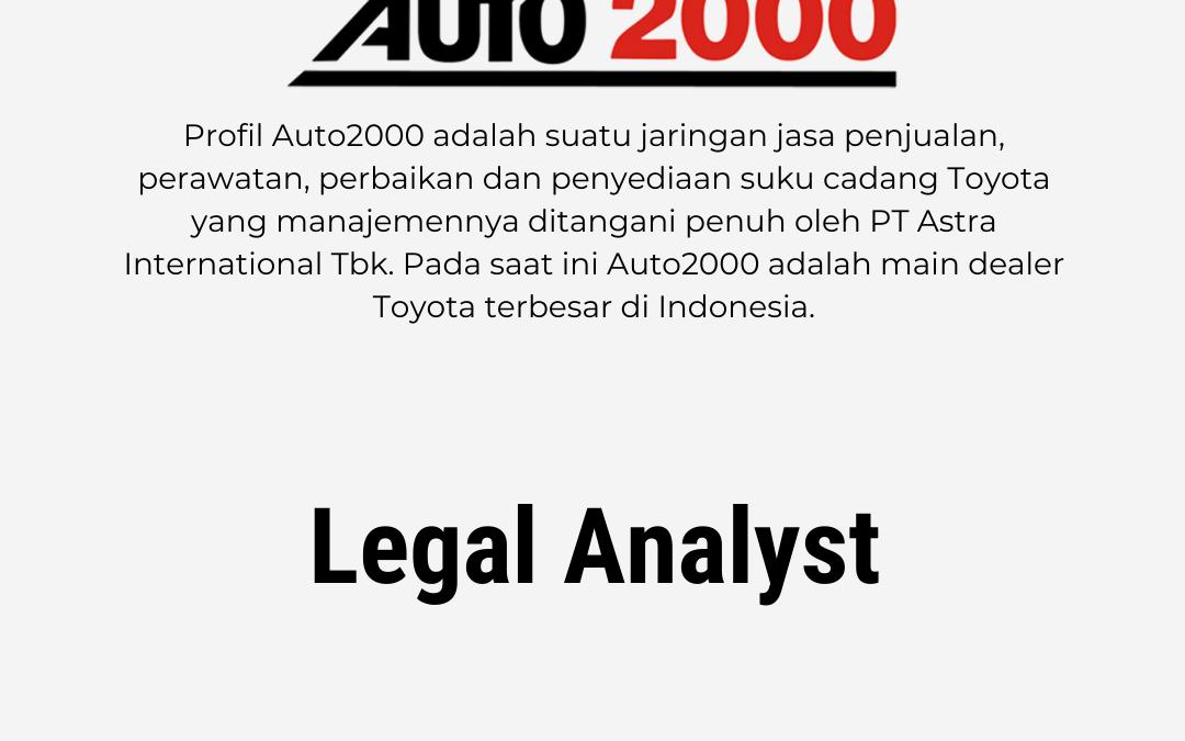 Loker Legal Analyst – PT. Toyota Auto2000